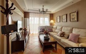 现代美式风格客厅吊顶效果图