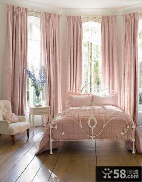 家居温馨卧室粉色窗帘大全