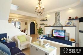 地中海风格客厅电视背景墙图片欣赏