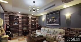 美式风格60平米小户型客厅挂画图片