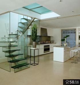 家居室内玻璃楼梯图片