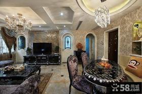豪华新古典装修客厅电视背景墙