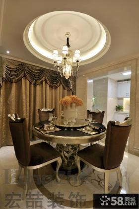 欧式新古典餐厅圆形吊顶效果图