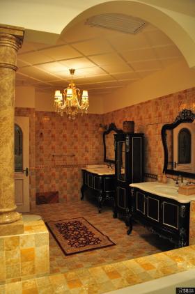 别墅大卫生间仿古瓷砖装修效果图