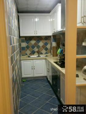 地中海L型厨房欧式橱柜瓷砖效果图