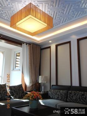 现代中式客厅天花板吊顶效果图