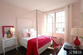 欧式粉红卧室图