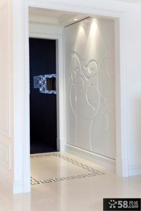 玄关石膏浮雕画装饰效果图