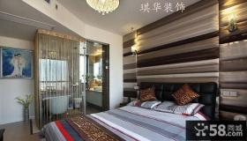 现代风格主卧室床头软包背景墙效果图