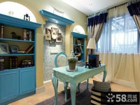 蓝蓝的地中海风格装修书房图片