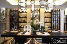 中式风格复式餐厅全景装修效果图
