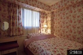韩式田园风格卧室壁纸装修效果图