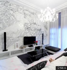 简约风格客厅大理石电视背景墙装修效果图