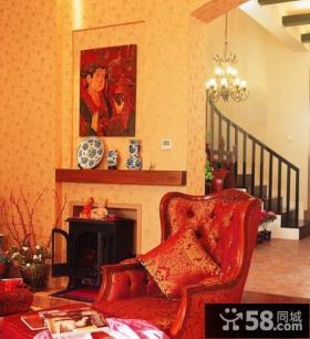 美式田园风格复式楼客厅壁炉背景墙装修效果图