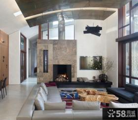 混搭家装设计客厅吊顶图片