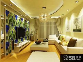 温馨小客厅电视背景墙装修效果图大全2013图片