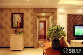 欧式田园风格客厅玄关储物柜图片欣赏