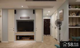 美式家居客厅电视背景墙简单装修图片