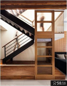现代室内实木楼梯图片展示