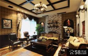 美式乡村风格家庭客厅装修效果图