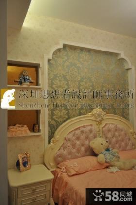 简约欧式卧室壁纸装修效果图片
