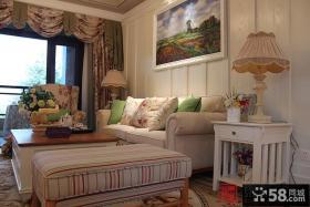 田园风格客厅沙发背景墙装饰画图片