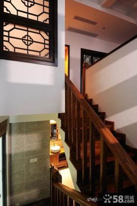 中式风格别墅木质楼梯装修效果图