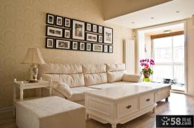 简欧客厅沙发照片背景墙效果图