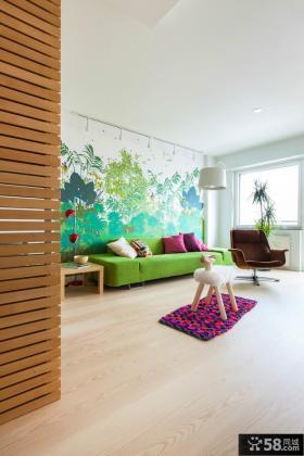 北欧风格单身公寓客厅墙体彩绘效果图