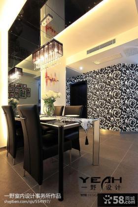 现代风格室内餐厅壁纸背景墙效果图