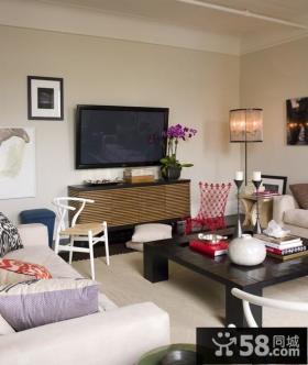 2013优质小户型简约客厅电视背景墙装修效果图