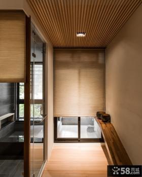 日式风格装修阳台卷式窗帘效果图