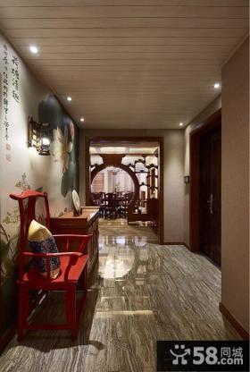中式家装别墅走廊木板吊顶装修