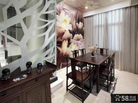 中式风格两室两厅餐厅背景墙效果图