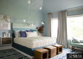 欧式简约主卧装修效果图 卧室窗帘图片