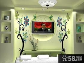 2013客厅电视背景墙墙纸装修效果图