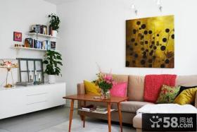简约混搭风格沙发背景墙设计效果图