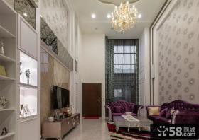 欧式风格别墅客厅电视背景墙图片