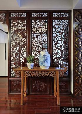 中式家居室内玄关桌青花瓷装饰图片