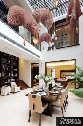 别墅中式家装餐厅吊顶效果图