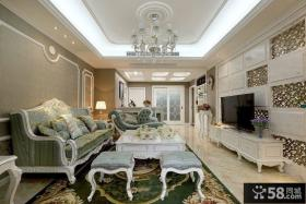 欧式风格客厅石膏板吊顶装修效果图