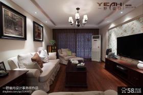 现代三居客厅电视背景墙装修样板房图