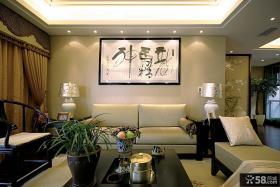 中式风格客厅沙发背景墙挂画效果图