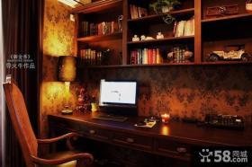 美式乡村风格书房书柜装修效果图