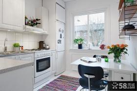 2013两室两厅餐厅厨房装修图 现代风格餐厅厨房装修效果图