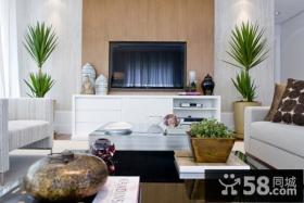 5万打造56平田园风格客厅电视背景墙装修效果图大全2014图片