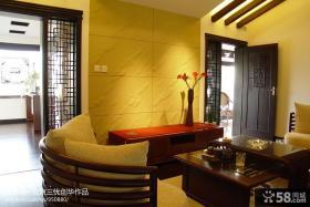 中式风格客厅瓷砖电视背景墙装修效果图
