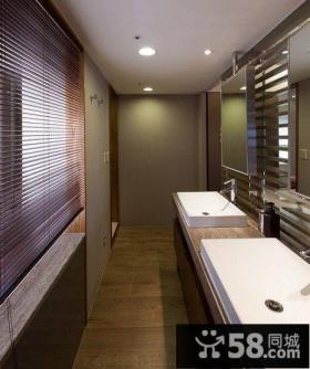 含有原木元素的现代风格卫生间装修效果图