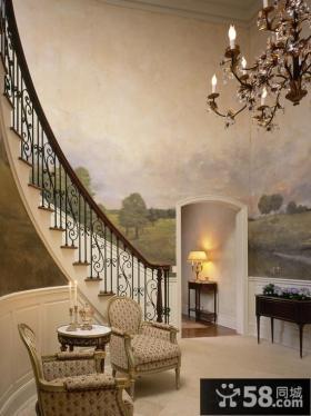 别墅楼梯壁画背景墙装修效果图
