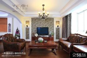 美式风格客厅电视墙壁纸大全